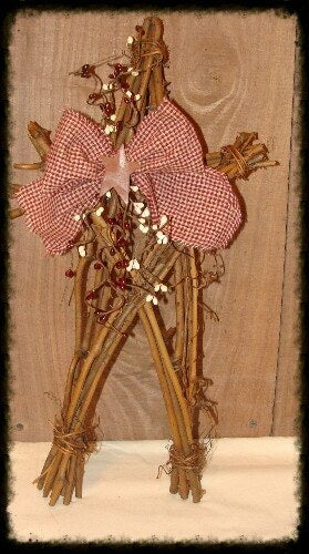 Decorated Tall Twig Stars Bow/Berries - Especially For You Home Decor