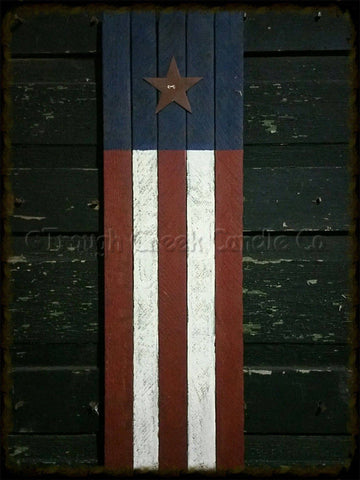 24 in Primitive Painted Lath Flag Regular Rusty Tin Star Vertical - Especially For You Home Decor