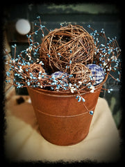 Large Rusty Pail with Blue and Cream Pipberry and lighted Grapevine Balls -Especiall For You Home Decor