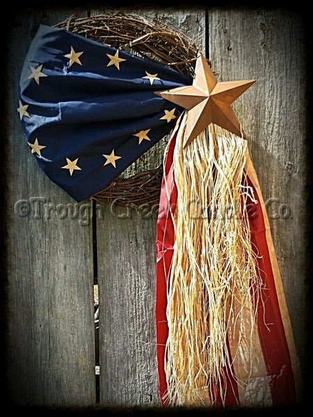Colonial Americana Flag Wreath