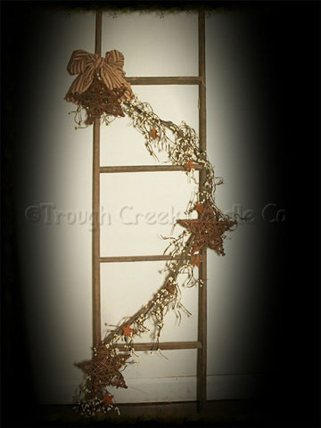 Decorated Tobacco Lath Ladder with Grapevine Stars