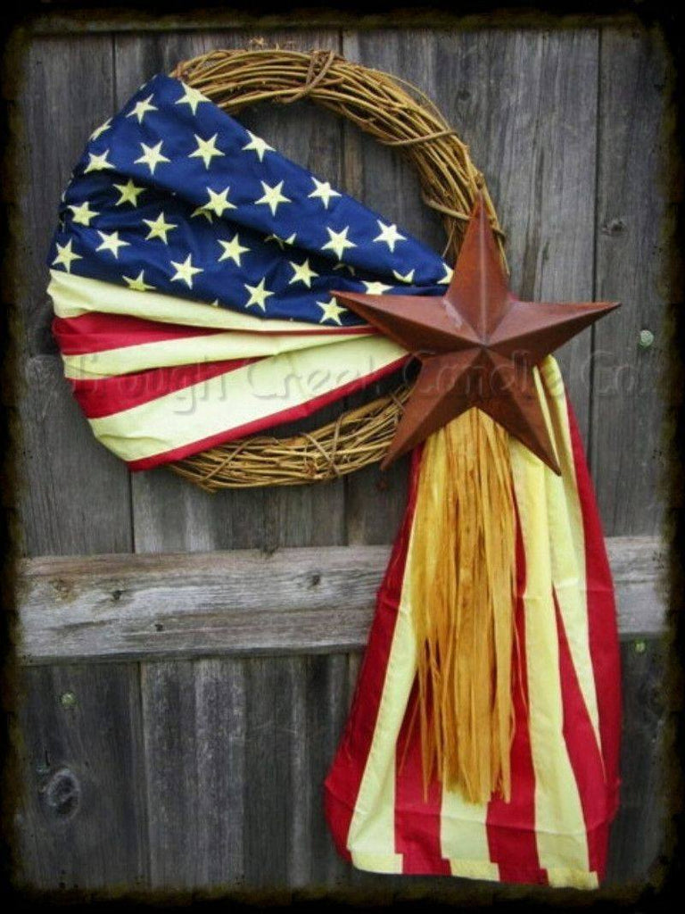 Replica Americana Wreath with Rusty Tin Star - Especially For You Home Decor