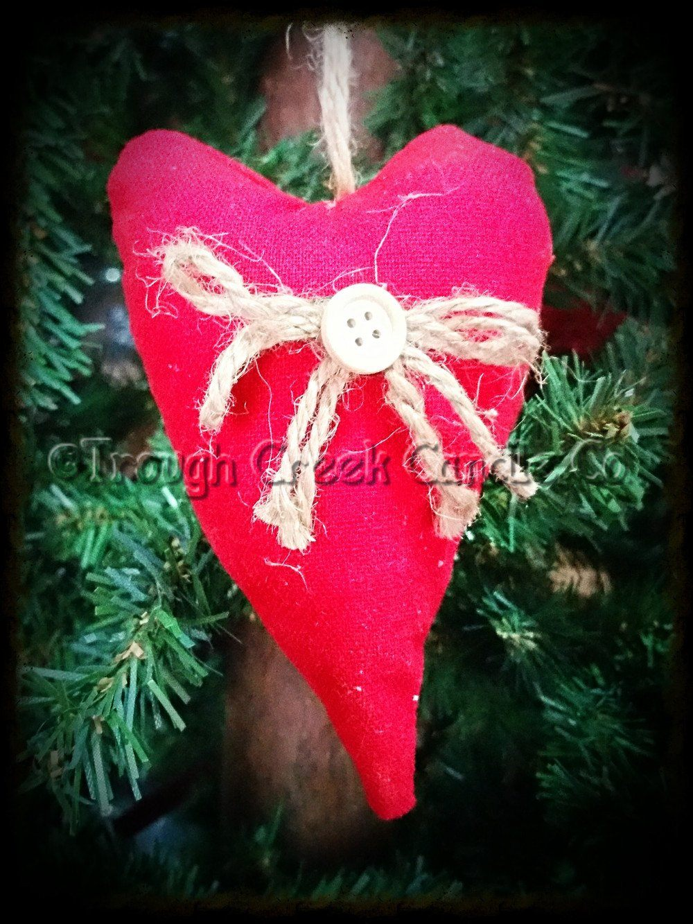 Red Fabric Pillow Heart Ornament