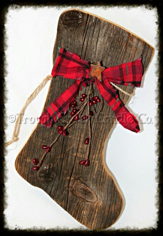 Large Barnwood Santa Boot ~ Stocking