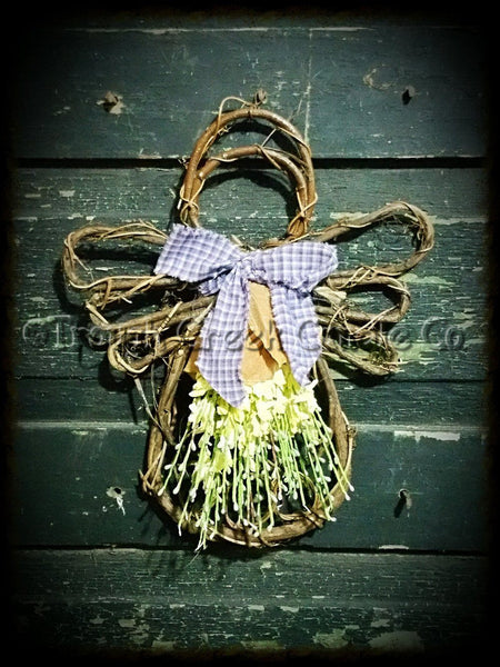 Large Spring Decorated Grapevine Angel