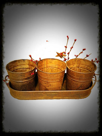 Rusty Tin Oval Tray with Three Pots - Especially For You Home Decor
