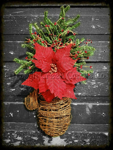 Grapevine Mitten with Burlap Poinsettia