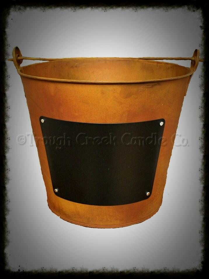Rusty Tin Pail with Chalkboard