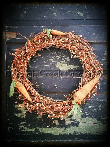 Spring Grapevine Pip Berry Wreath and Primitive Carrots