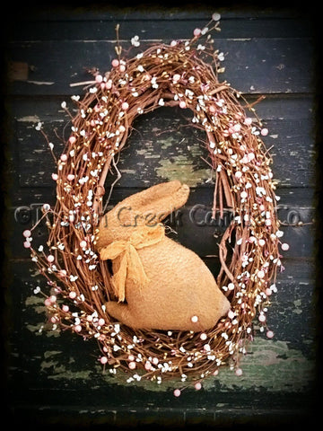 Spring Oval Grapevine Wreath Pip Berries and Grubby Bunny