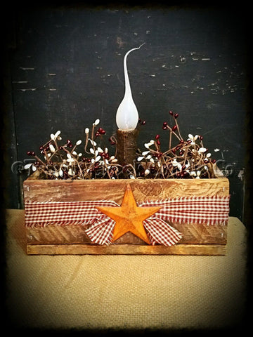 Rustic Box Light with Berries