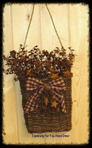 Decorated Twig Hanging Basket with Berries/Rusty Stars - Especially For You Home Decor