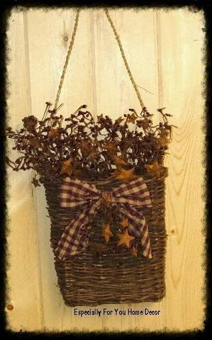 Decorated Twig Hanging Basket with Berries/Rusty Stars ~Wholesale - Especially For You Home Decor
