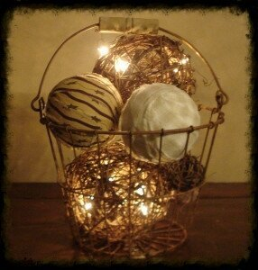 Rusty Basket Lighted Homespun and Grapevine Ball Arrangement - Especially For You Home Decor
