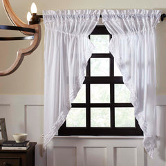 White Ruffled Sheer Prairie Short Panel Curtain Set 2 63x36x18