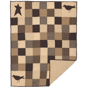 Kettle Grove Crow and Star Quilted Throw 60x50