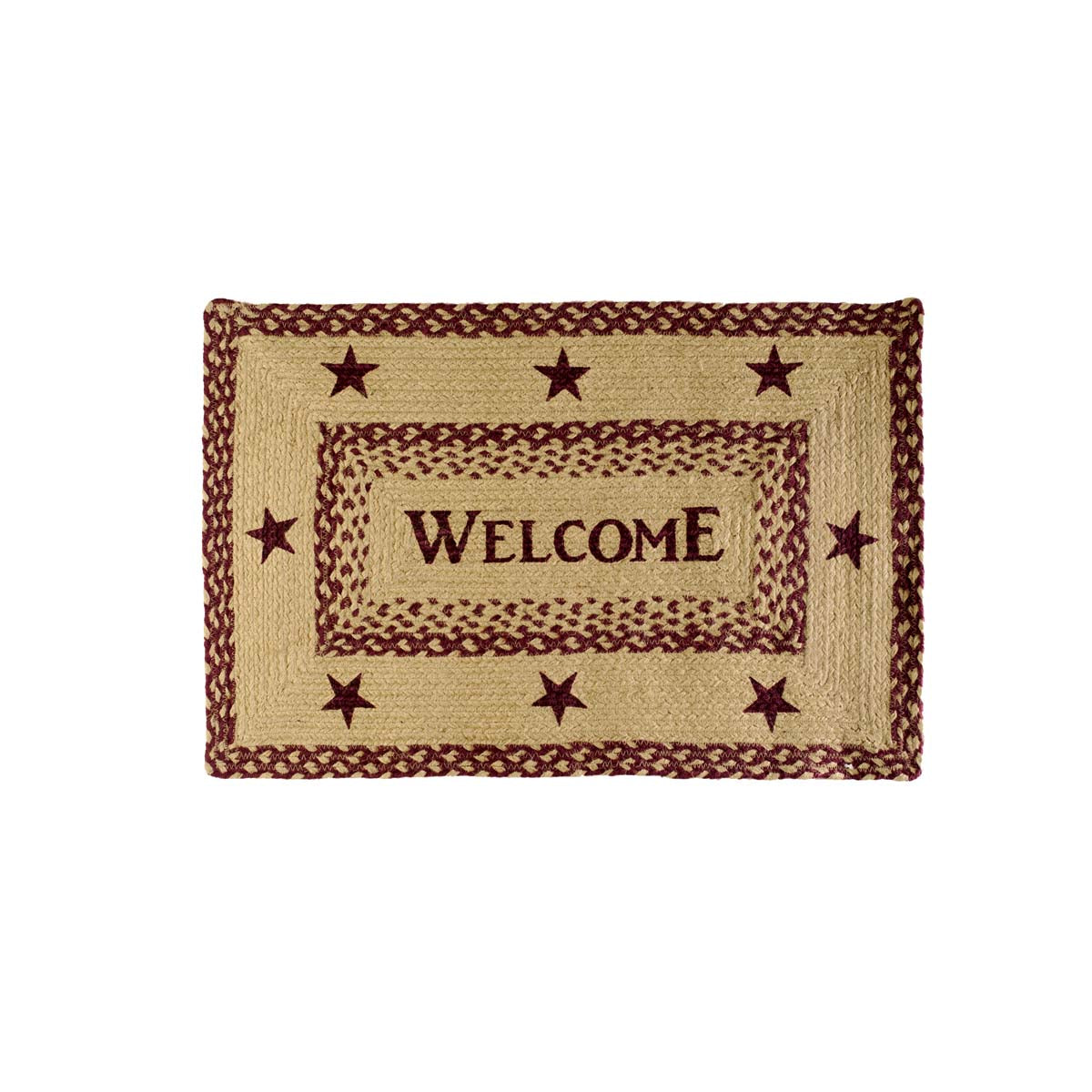 Burgundy Tan Jute Welcome Rug