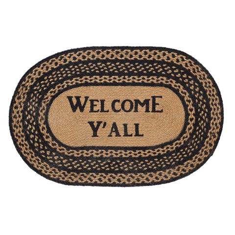 Farmhouse Jute Welcome Y'all Stenciled Rug