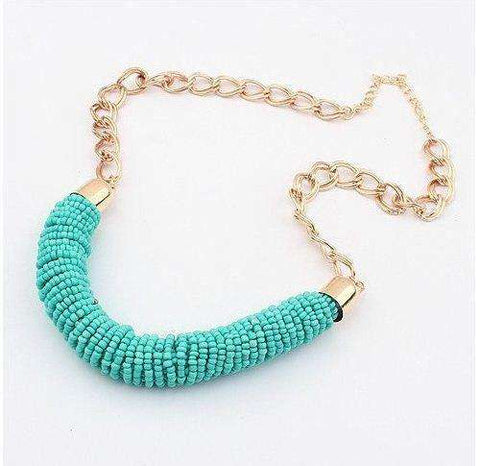 Beaded Collar Necklace Choker Mint