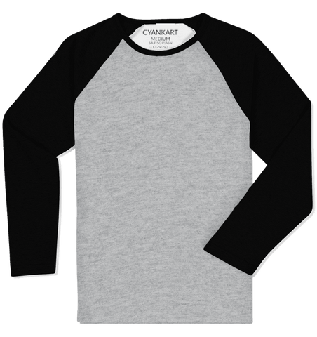 Black and Grey Full Sleeves Raglan T-Shirt