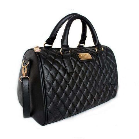 Black Quilted Mango Satchel