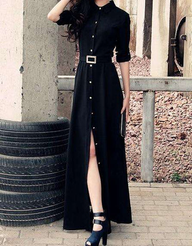 Black Shirt Maxi Dress