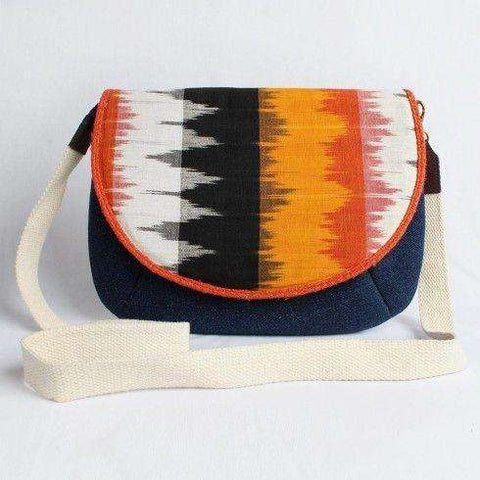 Blue Denim Ikat Flap Sling D-Bag