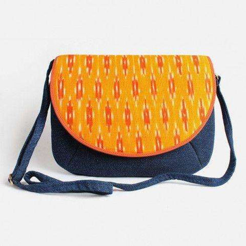 Blue Denim Orange Ikat Flap Sling Bag