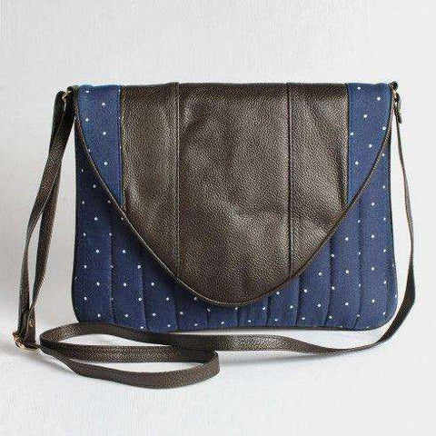 Blue Denim Polka Clutch With Leather Flap