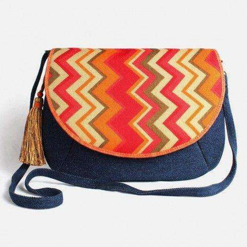 Blue Denim Printed Flap Sling Bag