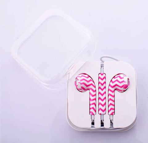 Chevron Pink Earphones