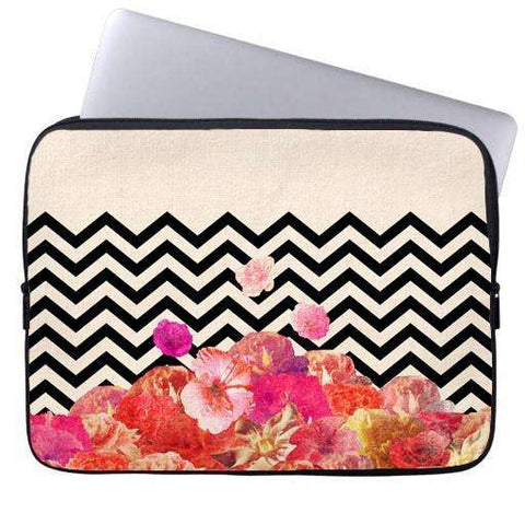 Flora Chevron Laptop Sleeve