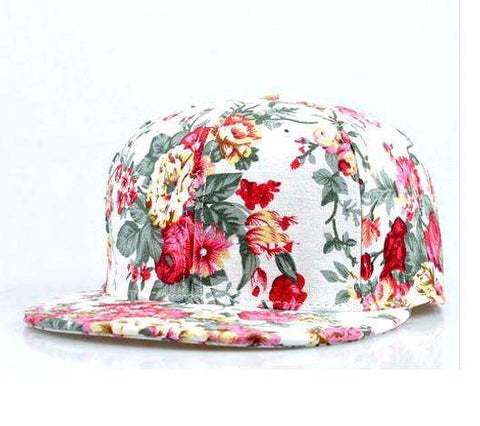 Floral White Snapback Cap