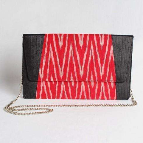 Gray & Pink Silk Ikat Clutch With Chain Sling