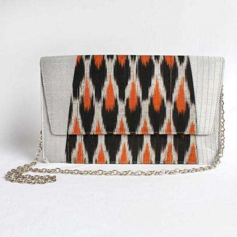 Gray Silk & Cotton Ikat Clutch With Chain Sling