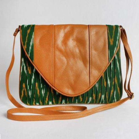 Green Cotton Ikat Clutch With Leather Flap Bag