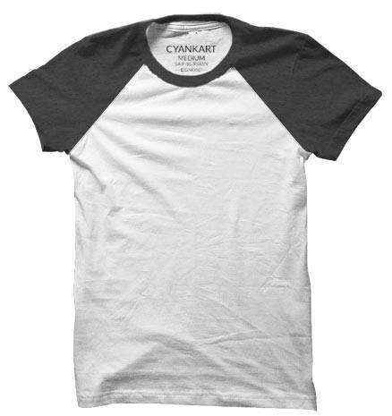 Grey and White Half Sleeves Raglan T-Shirt