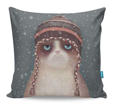 Grumpy Christmas Cat Cushion Cover