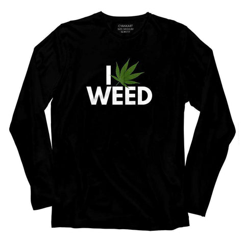 I Love Weed Full Sleeves T-Shirt