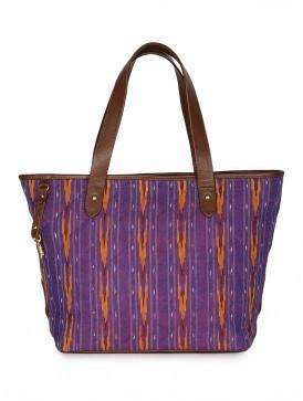 Ikkat Purple Tote Handbag