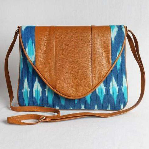 Light Blue Cotton Ikat Clutch With Leather Flap