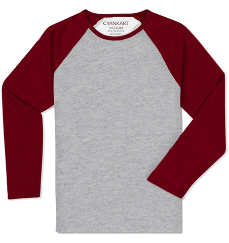 Maroon and Grey Full Sleeves Raglan T-Shirt