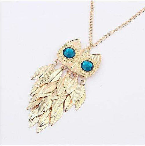 Mint Owl Long Necklace