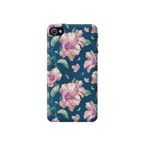 Navy Floral Apple iPhone 4/4S Case