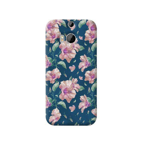 Navy Floral HTC One M8 Case