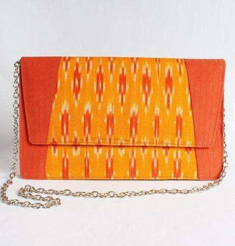Orange Silk Ikat Clutch With Chain Sling