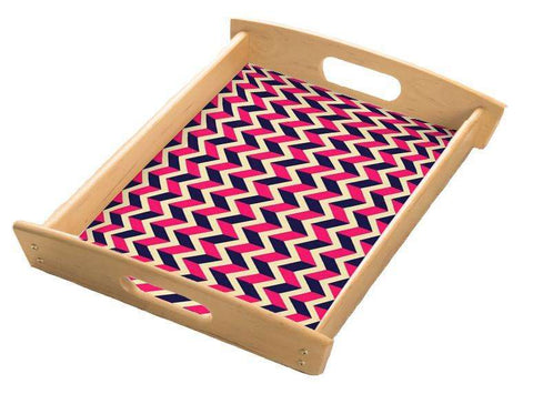 Pink Chevron Serving Tray