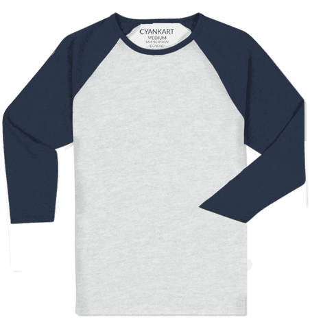 Raglan 3/4th Sleeve White and Blue T-Shirt