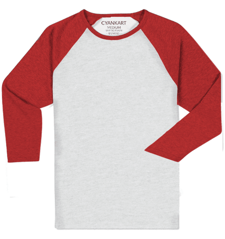 Raglan 3/4th Sleeve White and Red T-Shirt