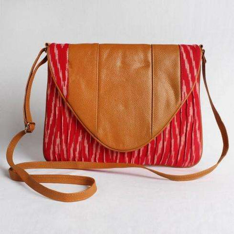 Red Cotton Ikat Clutch With Leather Flap